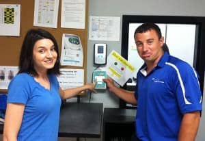Maria Martini, Assistant Call Center Manager and Alex Bialke, Commercial Route Manager at Zerorez Minnesota with their DailyPulse