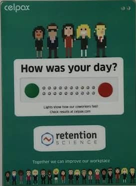 Employee retention strategies: A physical set of buttons in the office. A red one and a green one.