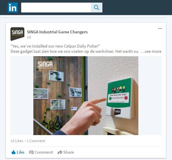 Linkedin post to announce Singa's agila methods to improve work morale