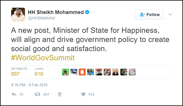 Minister of happiness announcement