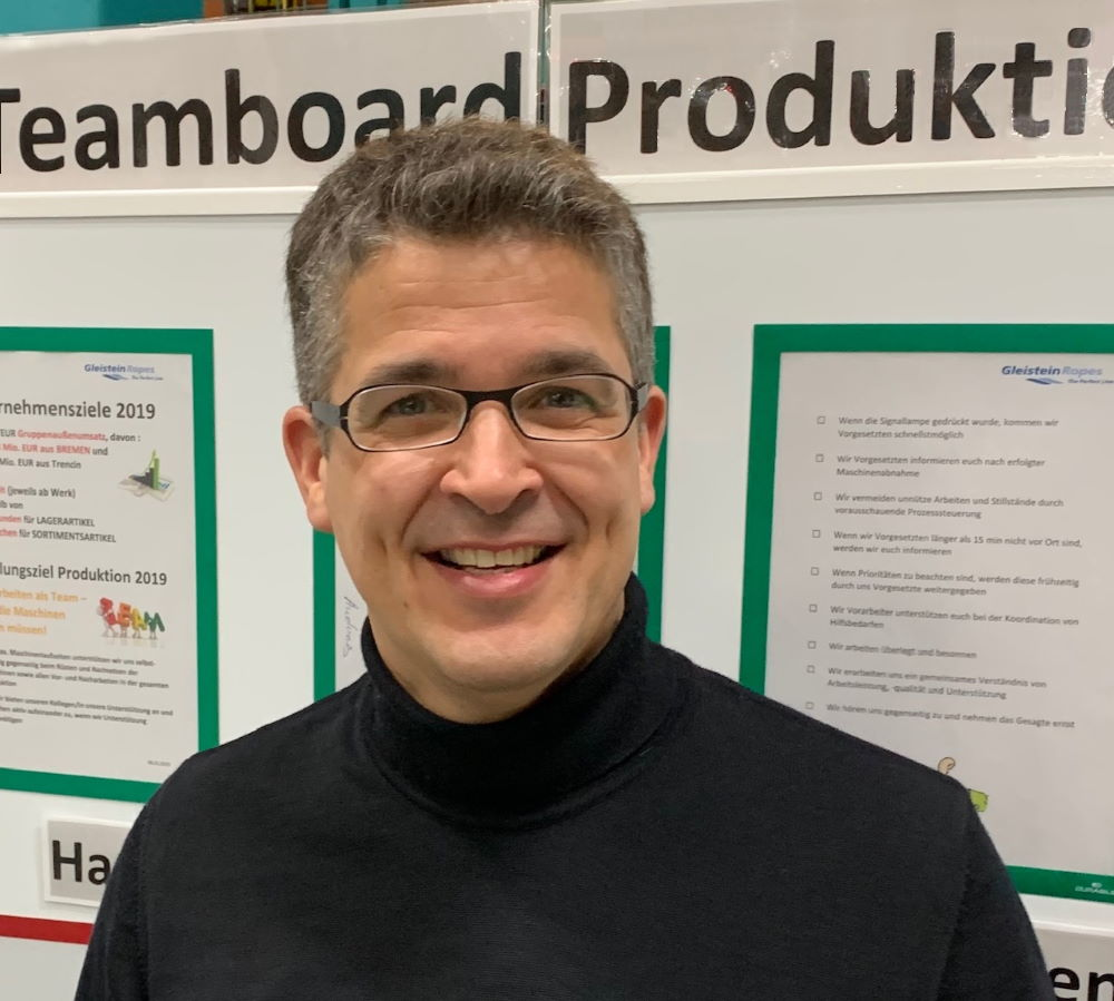 Team board at manufacturing site in Germany